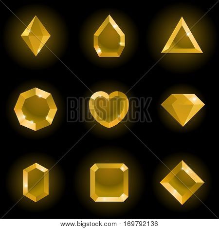 Set of different shapes gems. High quality gold gemstones, crystals, diamonds. Vector illustration on a black background.