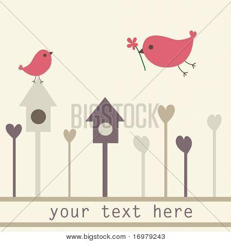 Birds couple. Vector.