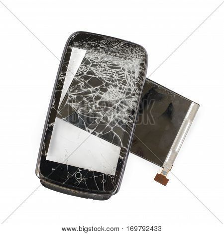 broken phone black cracked glass breakage  illustration