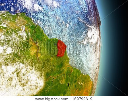 French Guiana In Red From Space