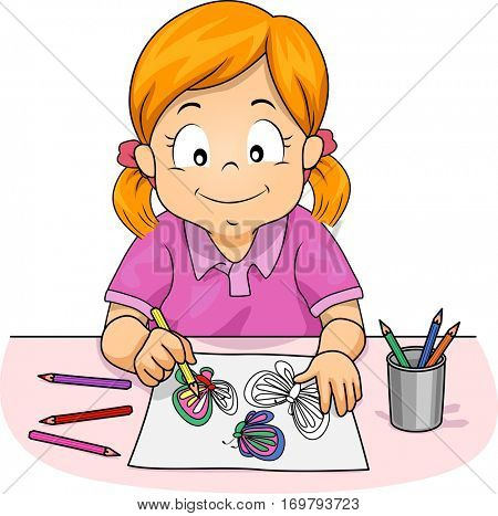 Illustration of a Little Girl Using Colored Pencils to Draw Butterflies for Her Art Class