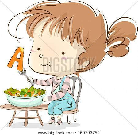 Illustration of a Cute Little Girl Snacking on Vegetables Rich in Vitamin A