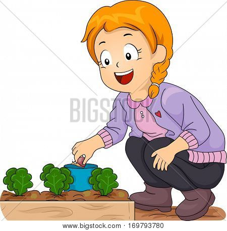 Illustration of a Smiling Little Girl Picking Snails Off Her Vegetable Garden