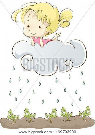 Whimsical Illustration of a Little Girl Lying Lazily on a Cloud as it Rains on the Vegetables Below