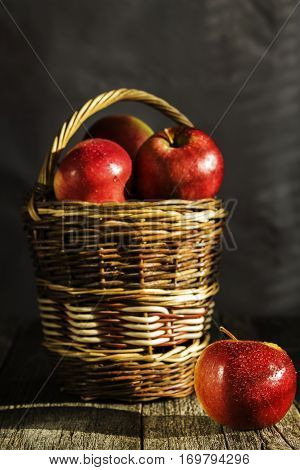Basket with ripe red juicy apple with patches of sunlight on a dark wooden shabby background. Selective focus