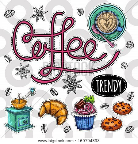 Coffee trendy vector set. Coffee beans, cup, cappuccino, coffee mill, sweets, cookies, cake, star anise, croissant. Hand drawn design elements.