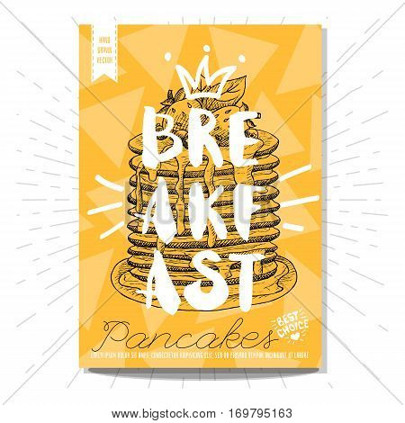 Hand drawn, card, poster. Breakfast, pancakes, best choice, heart, crown. Lettering, retro background. Sketch style vector.