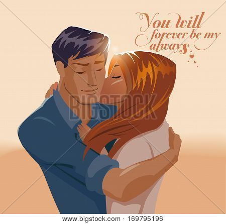 Embraces of a loving couple. Valentines day. Vector illustration