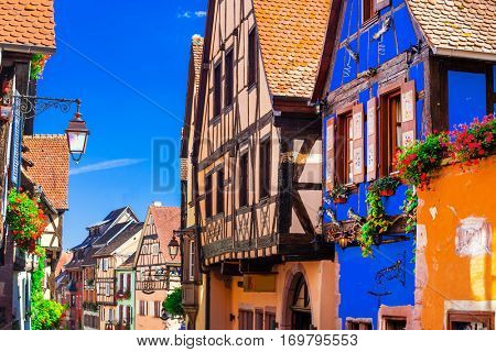Traditional half timbered houses of Alsace region, Riquewihr village,France