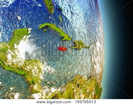 Jamaica In Red From Space
