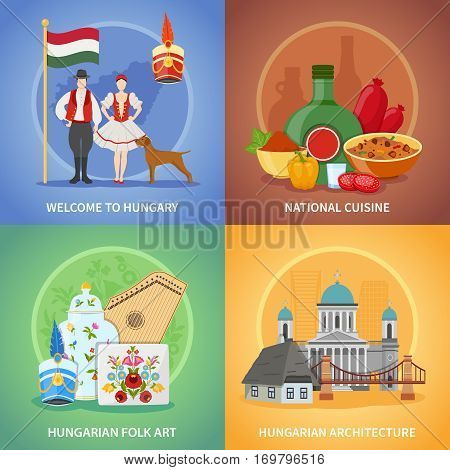 Four hungary flat square compositions set with national cuisine costumes architecture and hungarian folk art images vector illustration
