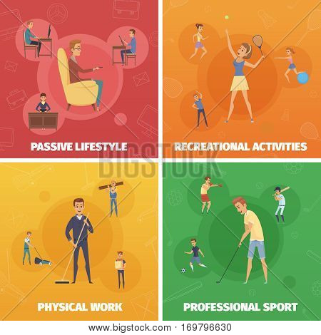 Four compositions set with active lifestyle images of human characters doing sport physical and leisure activities vector illustration