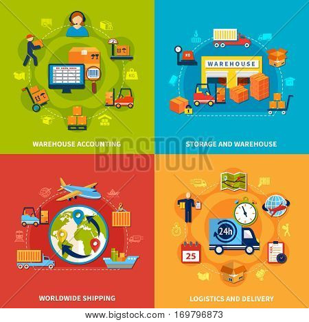 Four square logistic icon set with warehouse accounting worldwide shipping logistic and delivery storage and warehouse descriptions vector illustration