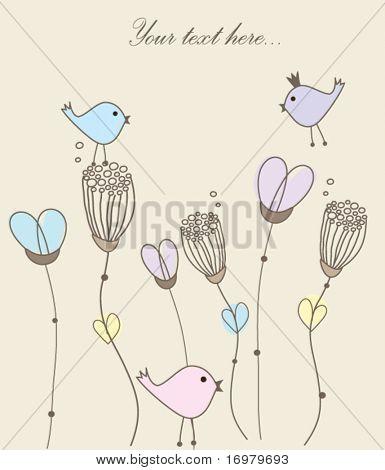 Grußkarte mit Vögel auf Blumen. Vektor.