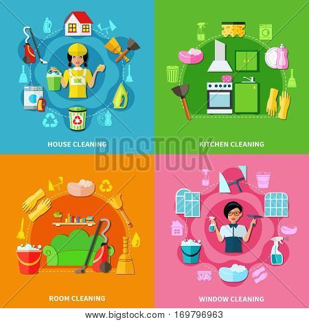 Four colorful square backgrounds with image compositions of cleaning facilities washing agents characters doodle style icons vector illustration