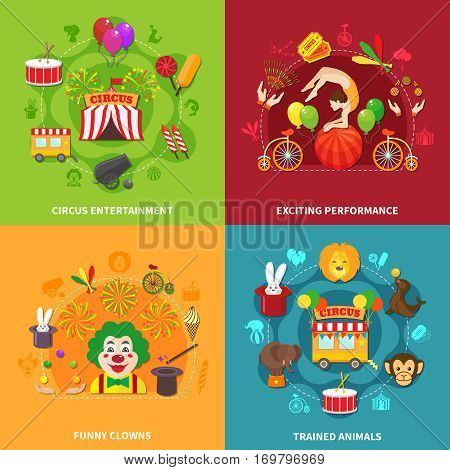 Circus flat compositions set with clowns animals and acrobats isolated vector illustration