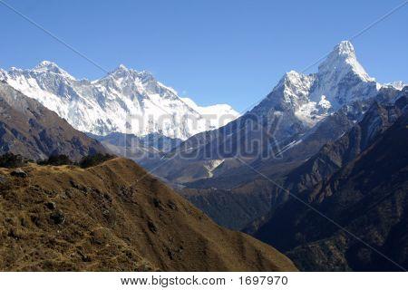 Mount Everest Lothse and Ama Dablam - Himalaya the Khumbu. poster
