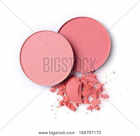 Round Pink Blusher And Crashed Eyeshadow For Makeup As Sample Of Cosmetic Product