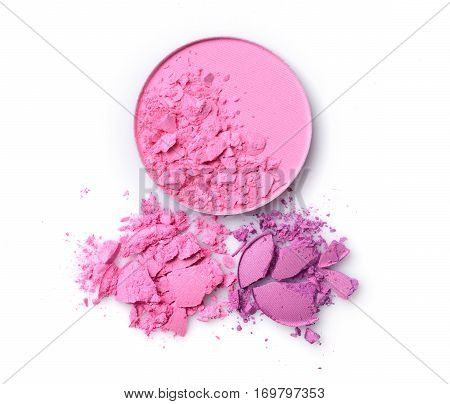 Round Pink Blusher And Purple Crashed Eyeshadow For Make Up As Sample Of Cosmetics Product