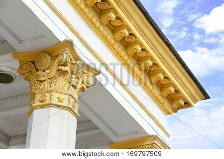 Closeup of building in neoclassical style