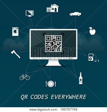 QR Codes everywhere - quick response codes business infographic template with monitor in the center