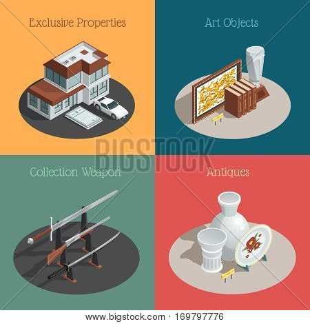 Four auction compositions set with isometric images of valuable collections and antique goods with text captions vector illustration