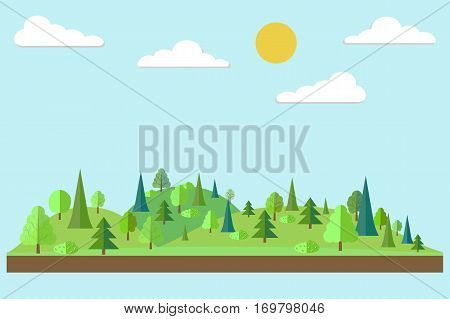 Forest in flat style. Spring. Spring forest. Wildlife. Eco lifestyle. Forest view. Vector illustration