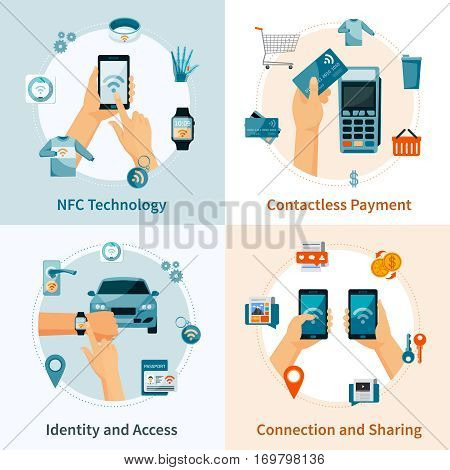 NFC technology flat style compositions with contacless payment identity and access connection and sharing isolated vector illustration