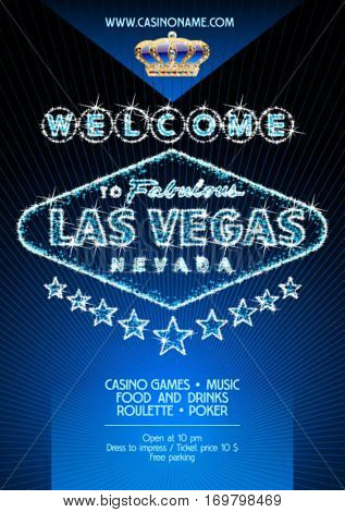 Vector flyer for party in casino in Las Vegas