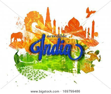 Incredible India vector illustration with Famous Monuments, Indian Cultural, National Bird, Creative Tricolour Background for Happy Republic Day celebration.