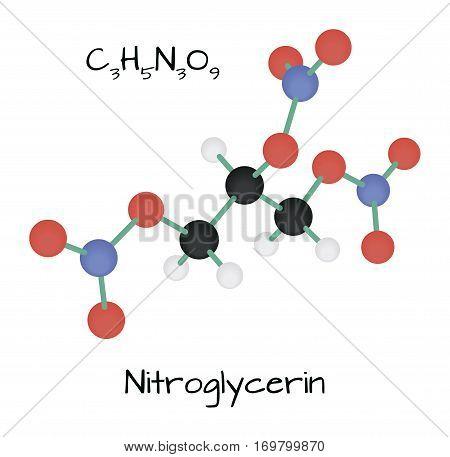 molecule Nitroglycerin C3H5N3O9 isolated on white in vector