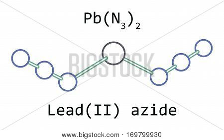 molecule Lead azide PbN6 isolated on white