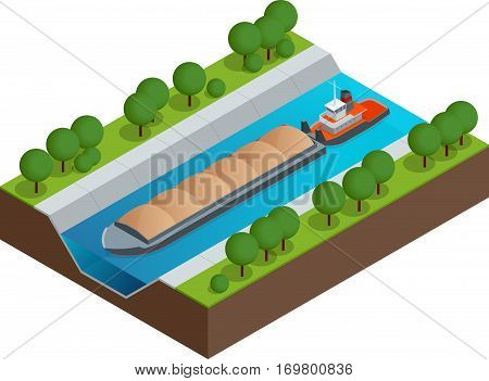 Isometric Barge on a River. Very large ship. Containerized trade, liquid bulk and dry bulk shipping. International shipping