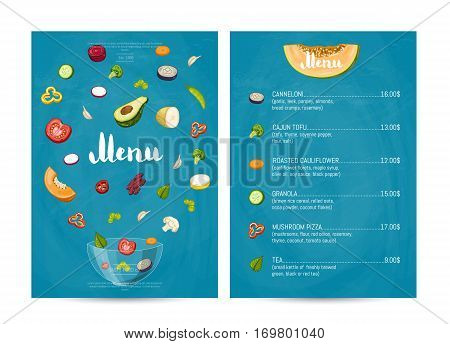 Vegetarian restaurant food menu design vector illustration. Vegan cafe menu, price catalog vegetarian food, organic nutrition, healthy diet retail. Vegetarian menu template with vegetable elements