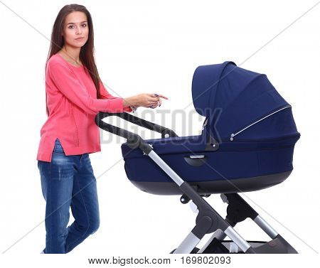 Full length portrait of mother with a stroller, isolated on white background