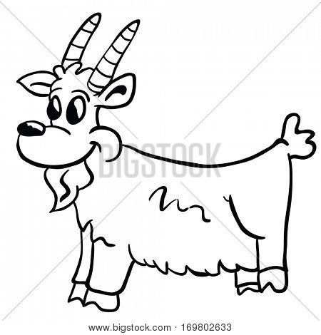 goat cartoon illustration isolated on white