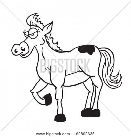 horse cartoon illustration isolated on white