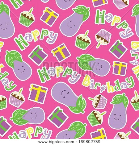 Birthday seamless pattern with cute eggplants, birthday cake and gift on pink background suitable for birthday kid wallpaper, scrap paper and fabric