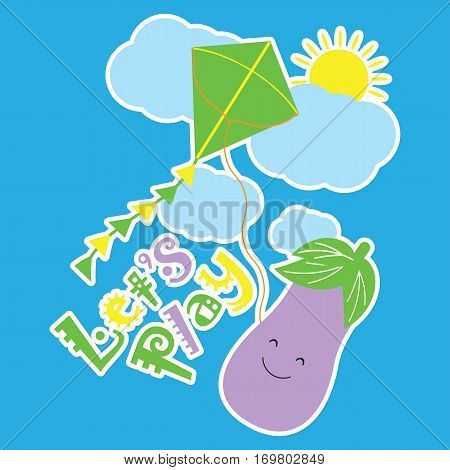 Vector Cartoon of Eggplant is playing kite suitable for kid wallpaper, scrap book, and t-shirt cartoon