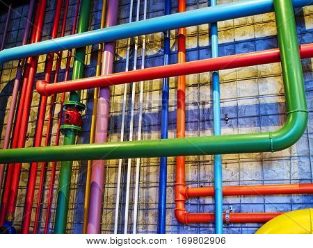 Pipes in bright strong colors great industrial modern background image