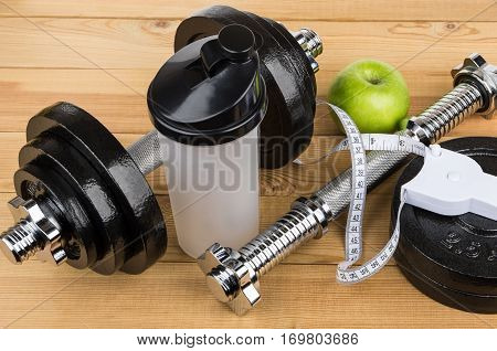 Adjustable Dumbbells, Plastic Shaker, Apple And Measures Tape