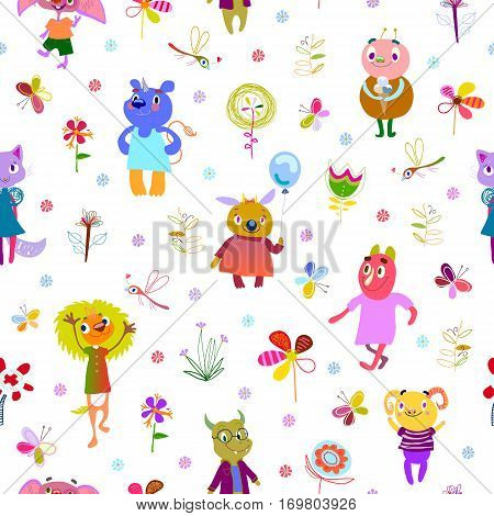 Jolly debonair monsters. Seamless pattern with funny fantastic characters, unusual flowers, butterflies and dragonflies. Bright colorful background for children design. Summer collection. Vector