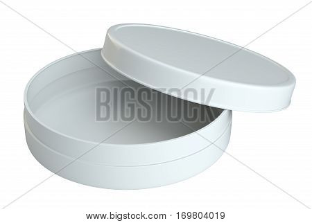 Opened Empty Cream Can. Products Mock Up. Isolated On White Background. 3D Rendering