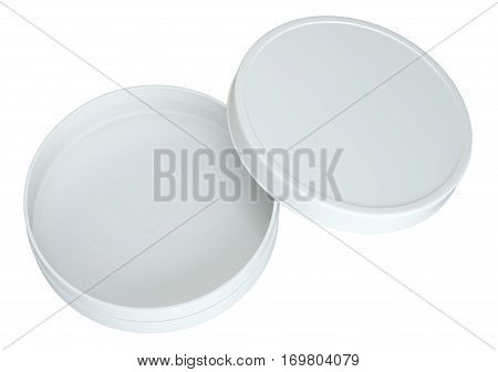 Product Packing. Top View. Cream White Opened Empty Can. Isolated On White Background. For Your Design. 3D Illustration