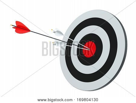 Target hit in center by arrows. Isolated on white, 3D Rendering