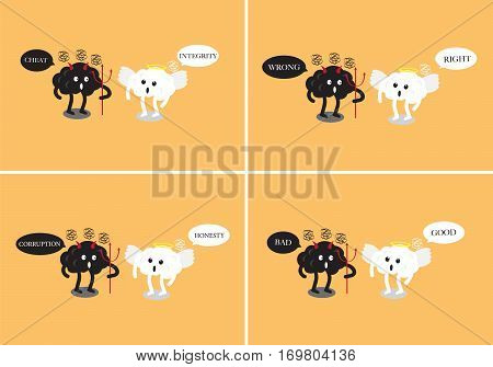 brain cartoon characters vector illustration image set showing angel and devil debating together by using wording about goodness and badness (conceptual image about human morality)