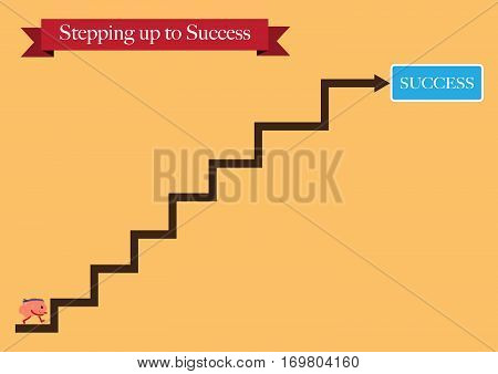 brain cartoon character vector illustration stepping up to success (conceptual image about person works for his dream try to reach for an achievement)