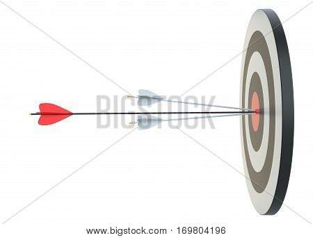 Target hit in center by arrows, side view. Isolated on white, 3D Rendering