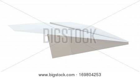 Close up of paper airplane on white background. 3D Illustration