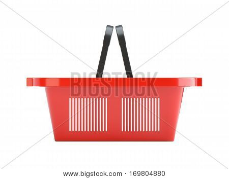 3D illustration of red plastic empty shopping basket. Isolated on white background. Side view